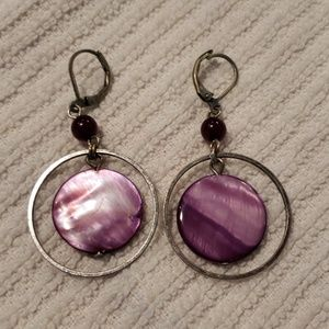 Purple dangling earrings